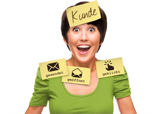 KlickTipp Frau-mit-Post-It-Stickern